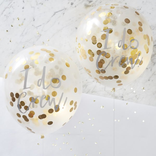 ID-403 I Do Crew Gold Confetti Balloons