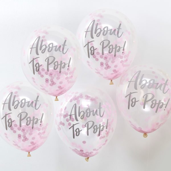 OB-119 About To Pop Pink Confetti Balloons