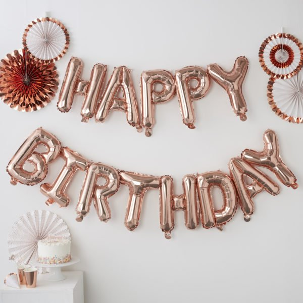 PM-333 Happy Birthday Rose Gold Balloon Bunting