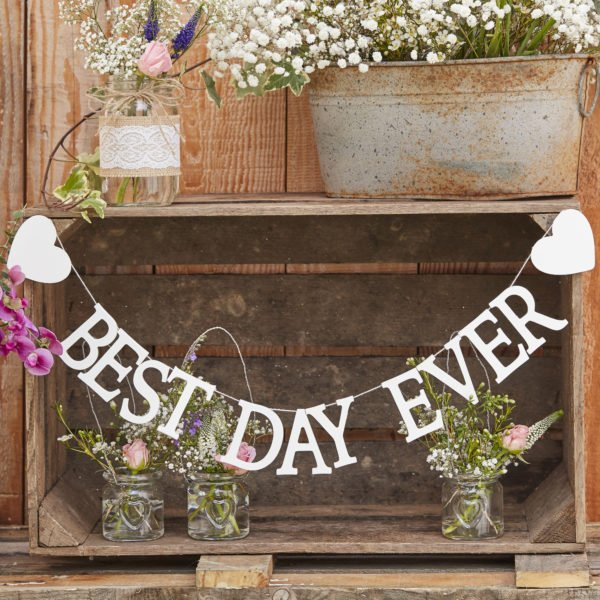 CW-221 White Wooden Best Day Ever Bunting