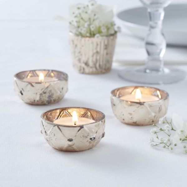 GW-703 Gold Mini Glass Tea Light Holder
