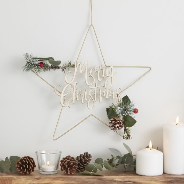 RC-847 Star Wreath With Wooden Script Writing V2