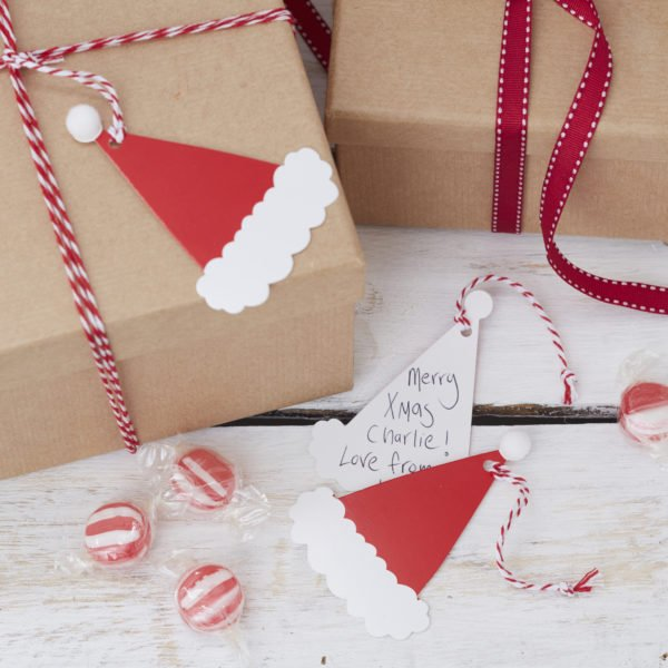 ST-241 Santa Hat Gift Tags With Pom Poms