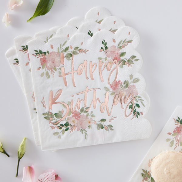 DF-814 Happy Birthday Floral Napkin