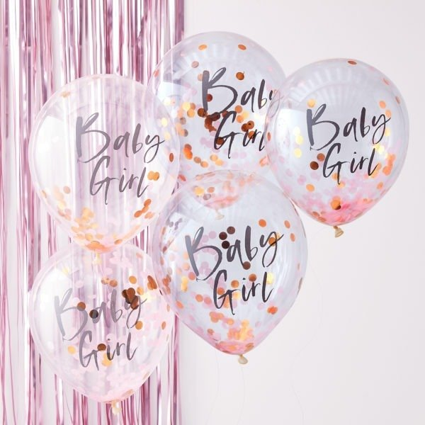 TW-801 Baby Girl Pink Confetti Balloons