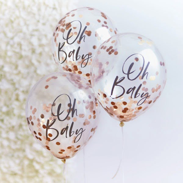 TW-803 Oh Baby Rose Gold Confetti Balloons V2